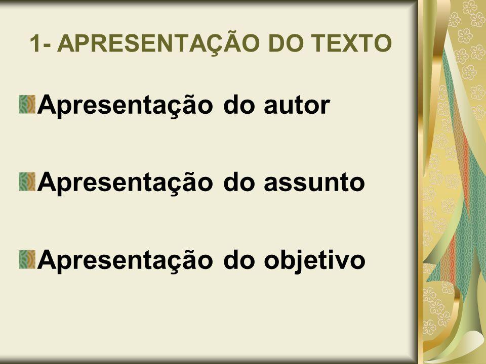 1- APRESENTAÇÃO DO TEXTO