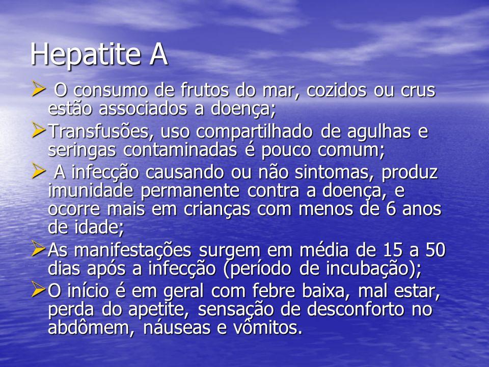 Hepatite A O consumo de frutos do mar, cozidos ou crus estão associados a doença;