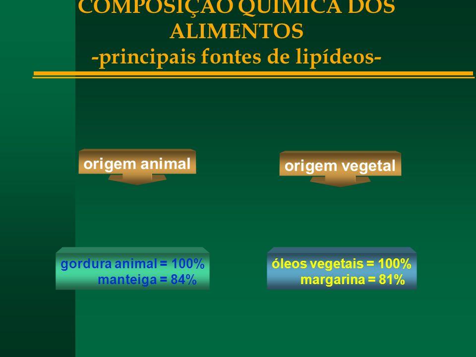 COMPOSIÇÃO QUÍMICA DOS ALIMENTOS -principais fontes de lipídeos-