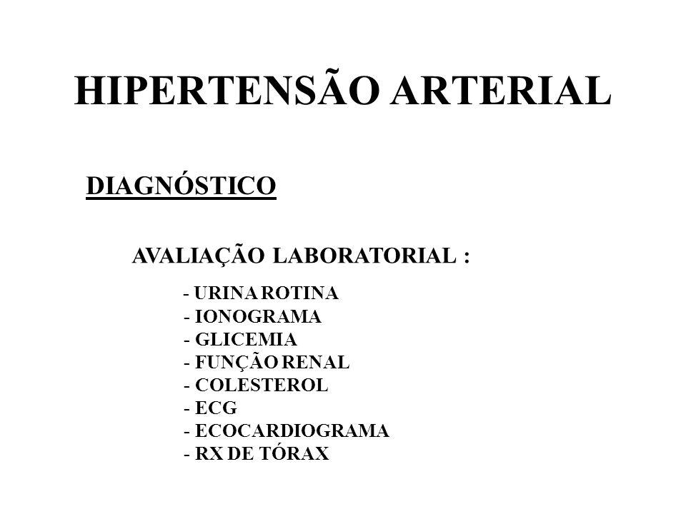 HIPERTENSÃO ARTERIAL DIAGNÓSTICO AVALIAÇÃO LABORATORIAL :