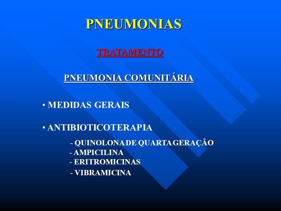 PNEUMONIAS TRATAMENTO PNEUMONIA COMUNITÁRIA MEDIDAS GERAIS