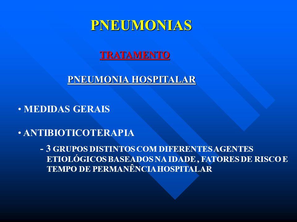 PNEUMONIAS TRATAMENTO PNEUMONIA HOSPITALAR MEDIDAS GERAIS