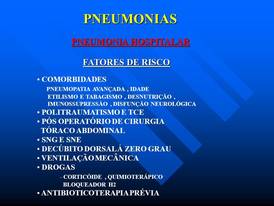 PNEUMONIAS PNEUMONIA HOSPITALAR FATORES DE RISCO COMORBIDADES