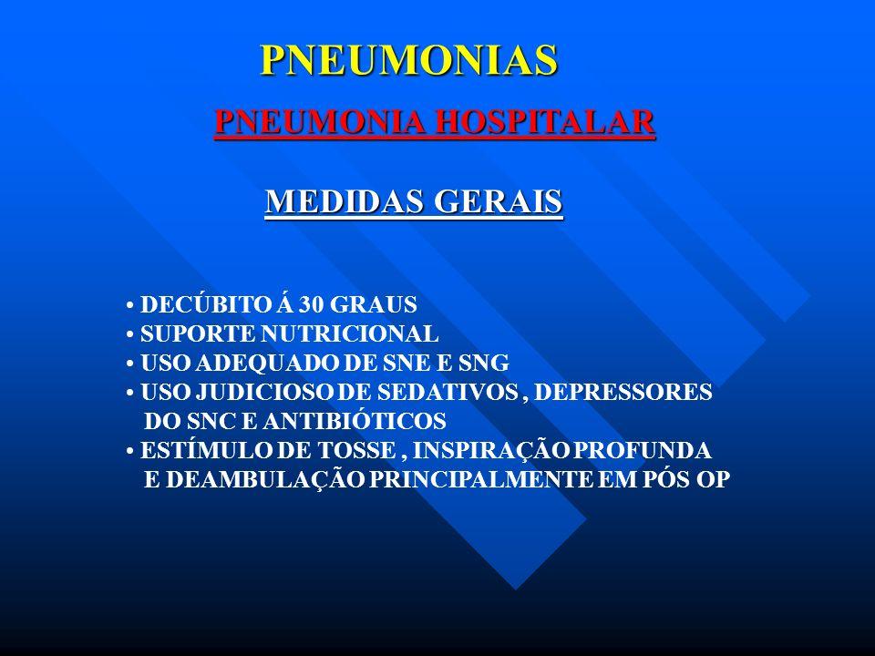 PNEUMONIAS PNEUMONIA HOSPITALAR MEDIDAS GERAIS DECÚBITO Á 30 GRAUS
