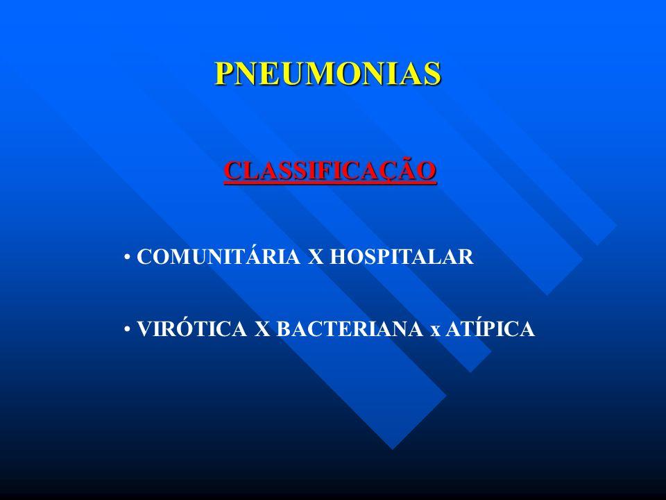 PNEUMONIAS CLASSIFICAÇÃO COMUNITÁRIA X HOSPITALAR