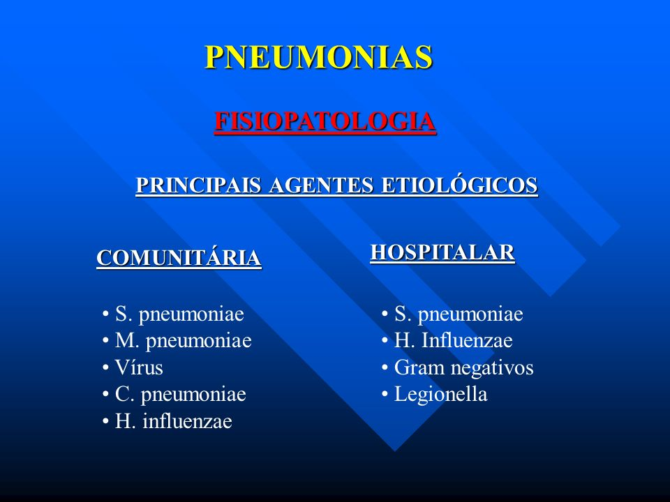 PNEUMONIAS FISIOPATOLOGIA PRINCIPAIS AGENTES ETIOLÓGICOS HOSPITALAR