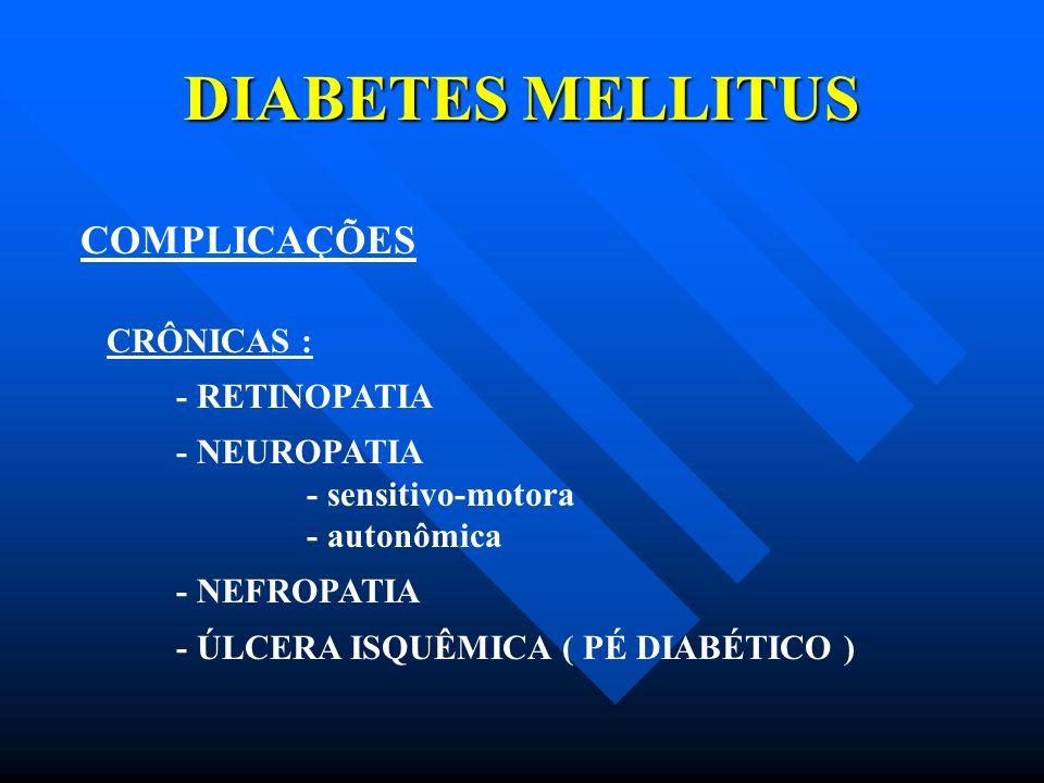 DIABETES MELLITUS COMPLICAÇÕES CRÔNICAS : - RETINOPATIA - NEUROPATIA