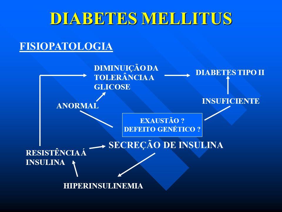DIABETES MELLITUS FISIOPATOLOGIA SECREÇÃO DE INSULINA DIMINUIÇÃO DA
