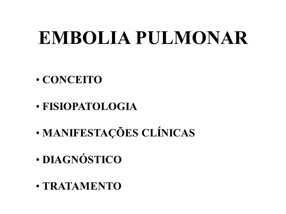EMBOLIA PULMONAR CONCEITO FISIOPATOLOGIA MANIFESTAÇÕES CLÍNICAS