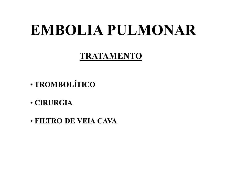 EMBOLIA PULMONAR TRATAMENTO TROMBOLÍTICO CIRURGIA FILTRO DE VEIA CAVA