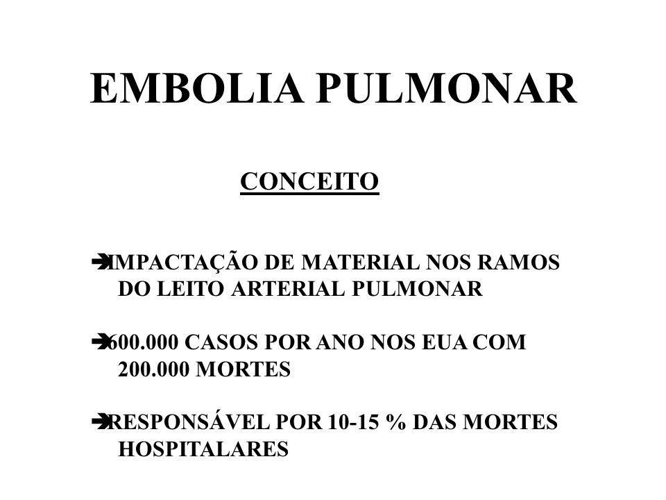 EMBOLIA PULMONAR CONCEITO IMPACTAÇÃO DE MATERIAL NOS RAMOS