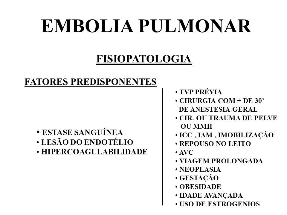 EMBOLIA PULMONAR FISIOPATOLOGIA FATORES PREDISPONENTES