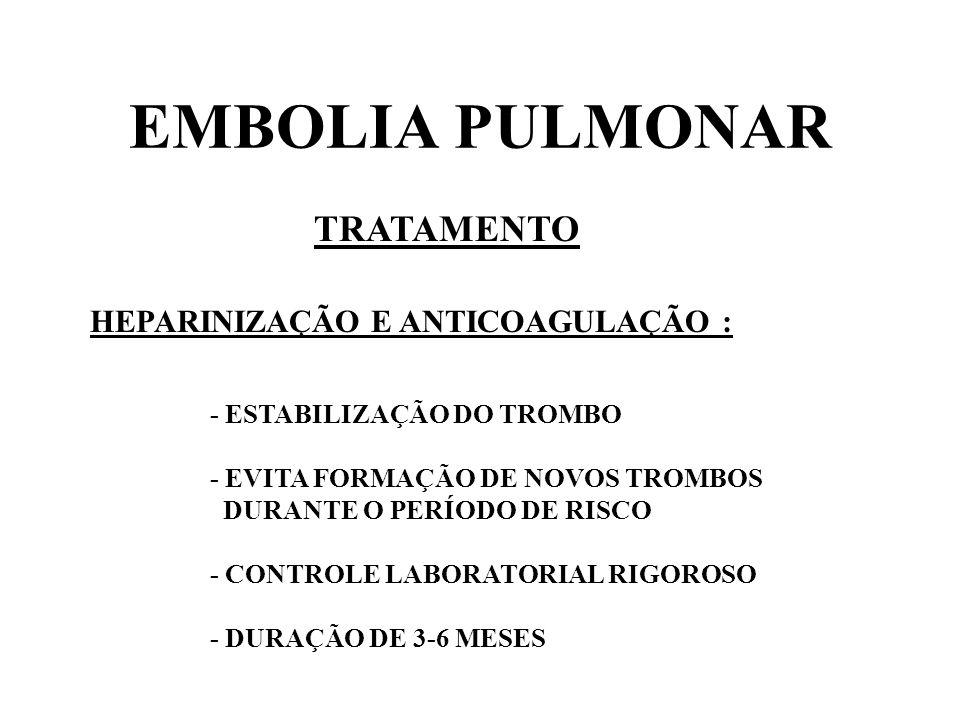 EMBOLIA PULMONAR TRATAMENTO HEPARINIZAÇÃO E ANTICOAGULAÇÃO :