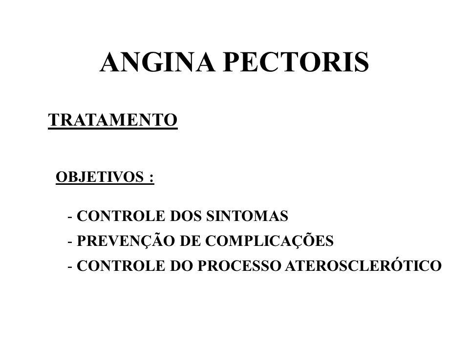 ANGINA PECTORIS TRATAMENTO OBJETIVOS : CONTROLE DOS SINTOMAS