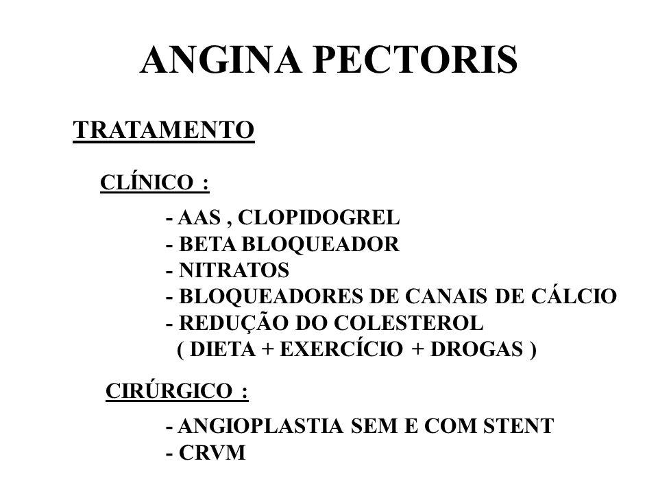 ANGINA PECTORIS TRATAMENTO CLÍNICO : - AAS , CLOPIDOGREL