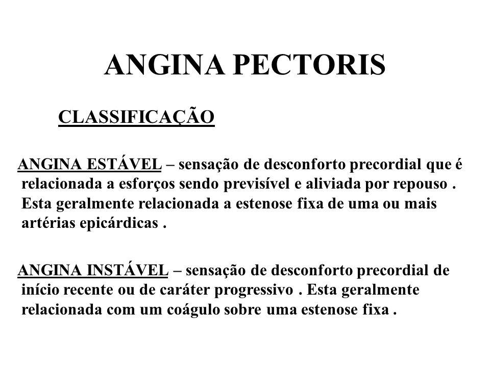 ANGINA PECTORIS CLASSIFICAÇÃO