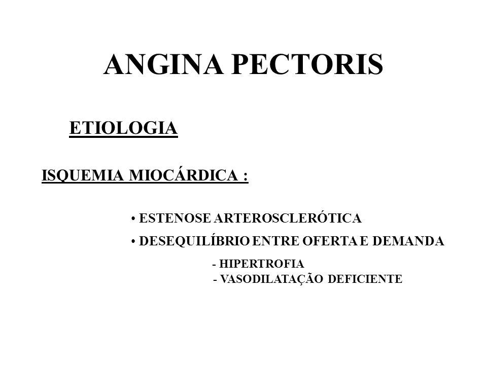 ANGINA PECTORIS ETIOLOGIA ISQUEMIA MIOCÁRDICA :