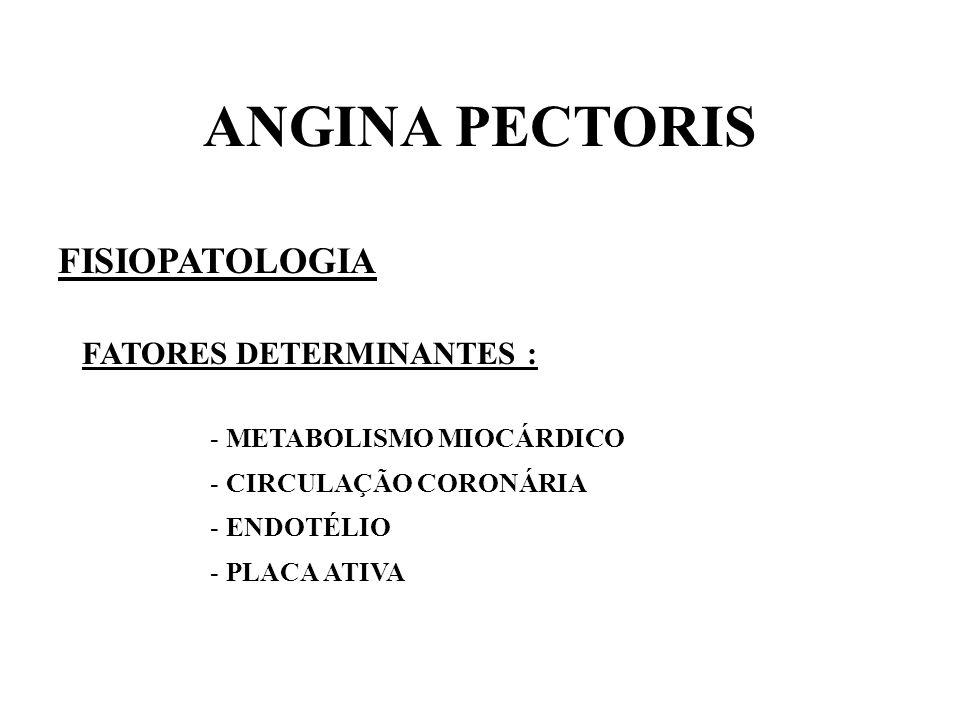 ANGINA PECTORIS FISIOPATOLOGIA FATORES DETERMINANTES :