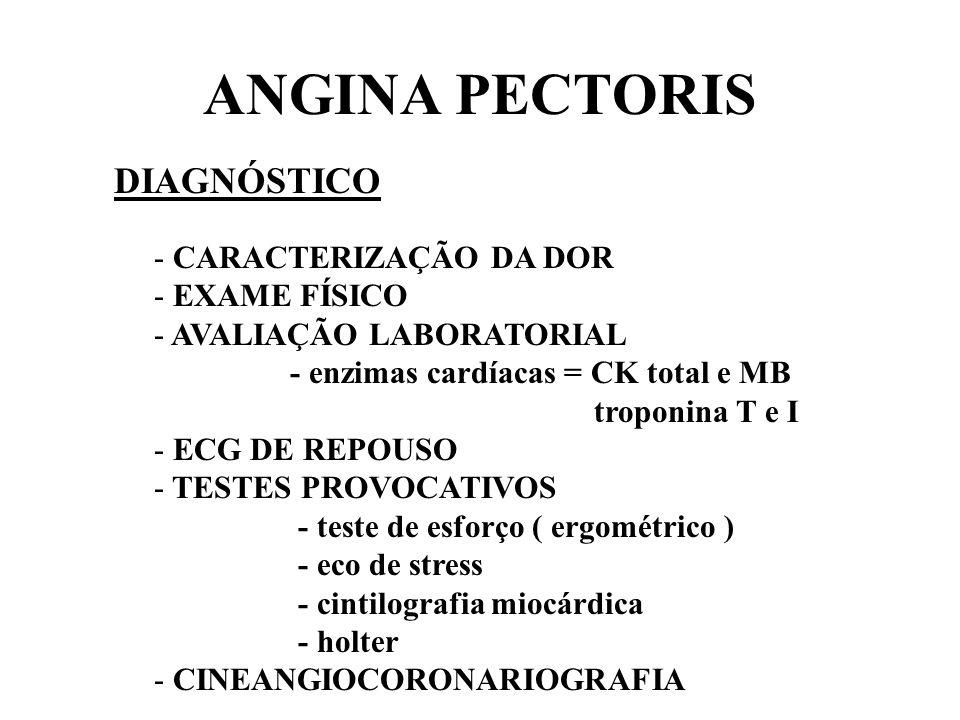 ANGINA PECTORIS DIAGNÓSTICO CARACTERIZAÇÃO DA DOR EXAME FÍSICO