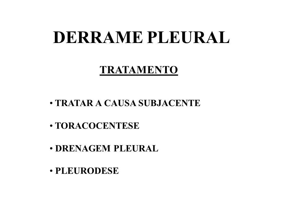 DERRAME PLEURAL TRATAMENTO TRATAR A CAUSA SUBJACENTE TORACOCENTESE