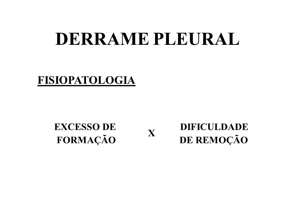 DERRAME PLEURAL FISIOPATOLOGIA EXCESSO DE DIFICULDADE