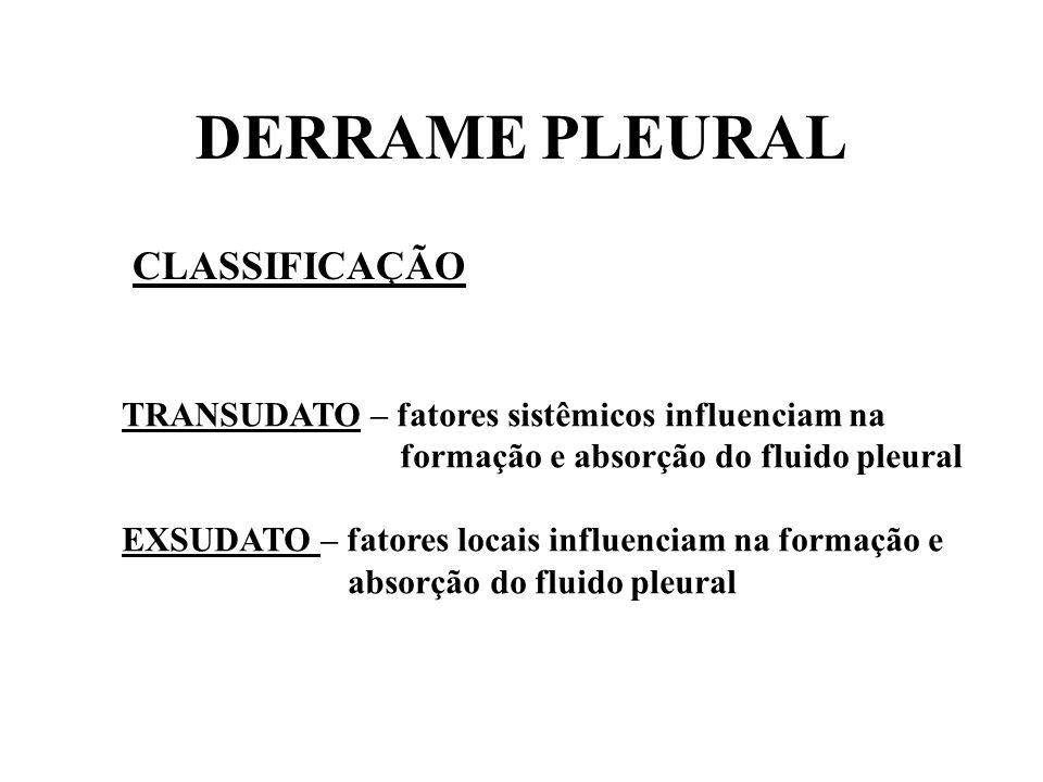 DERRAME PLEURAL CLASSIFICAÇÃO
