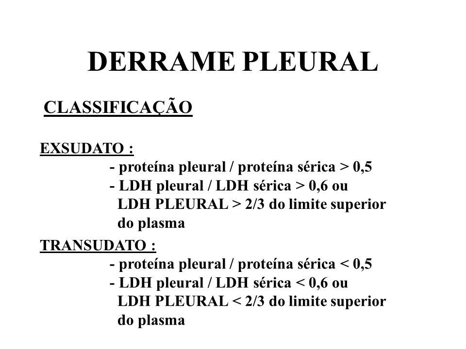 DERRAME PLEURAL CLASSIFICAÇÃO EXSUDATO :