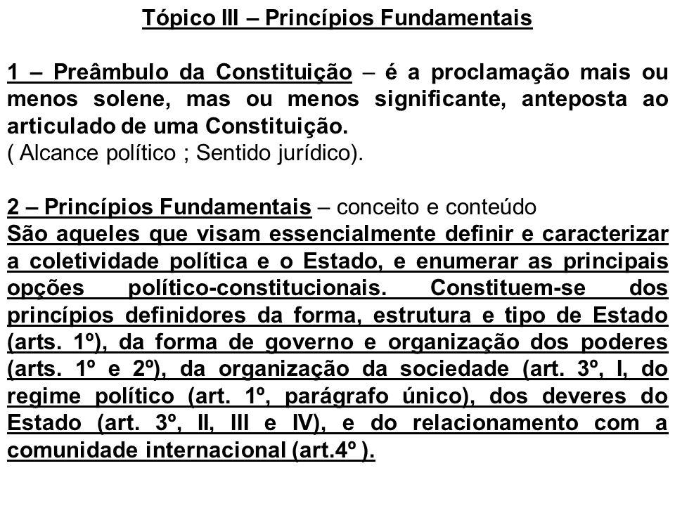 Tópico III – Princípios Fundamentais