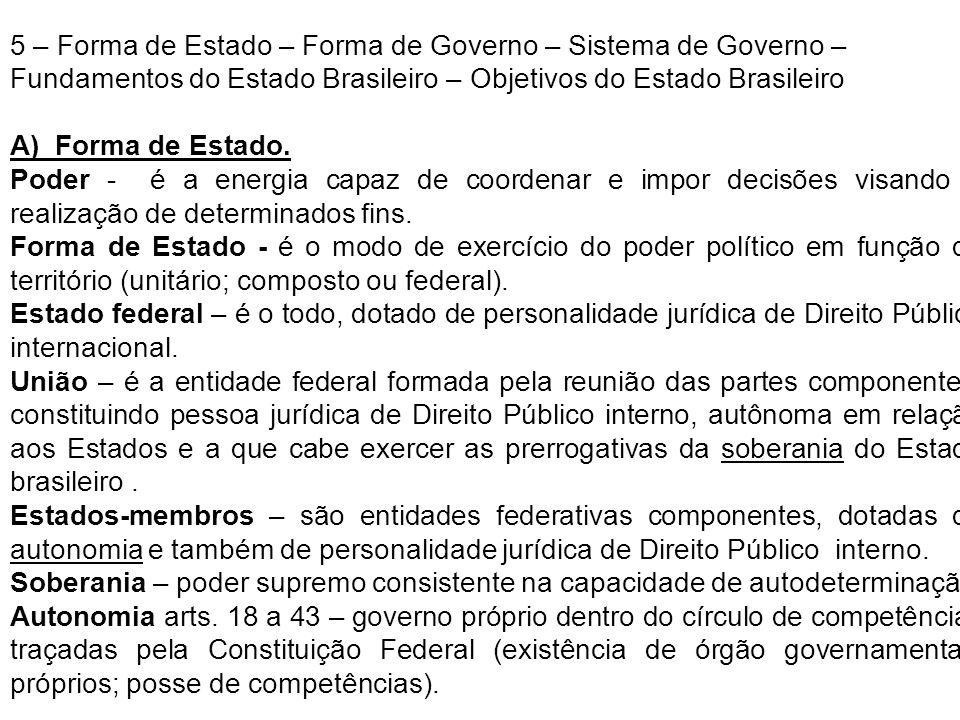 5 – Forma de Estado – Forma de Governo – Sistema de Governo – Fundamentos do Estado Brasileiro – Objetivos do Estado Brasileiro