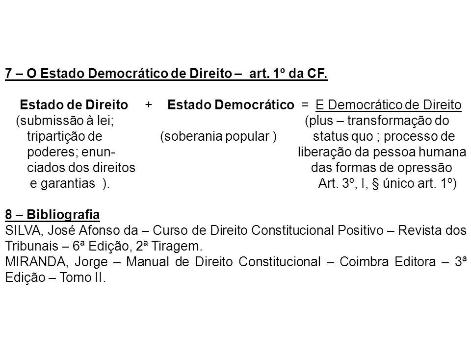 7 – O Estado Democrático de Direito – art. 1º da CF.