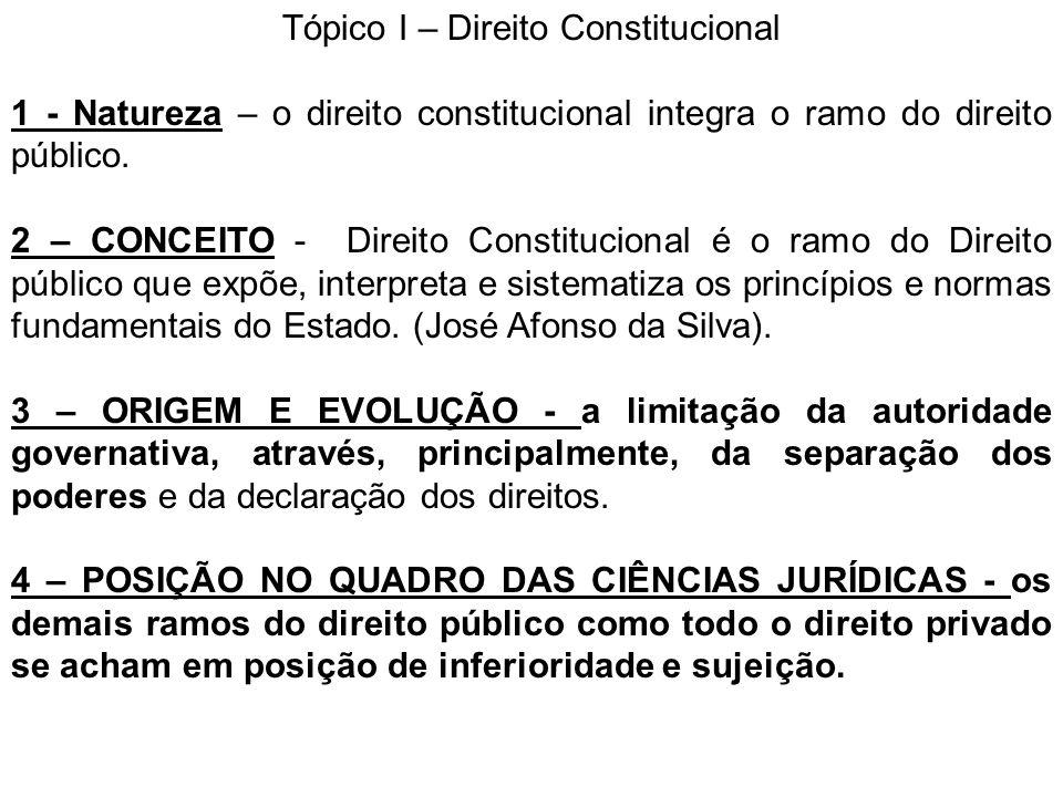 Tópico I – Direito Constitucional