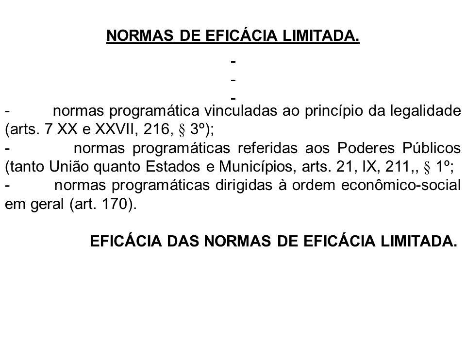 NORMAS DE EFICÁCIA LIMITADA.