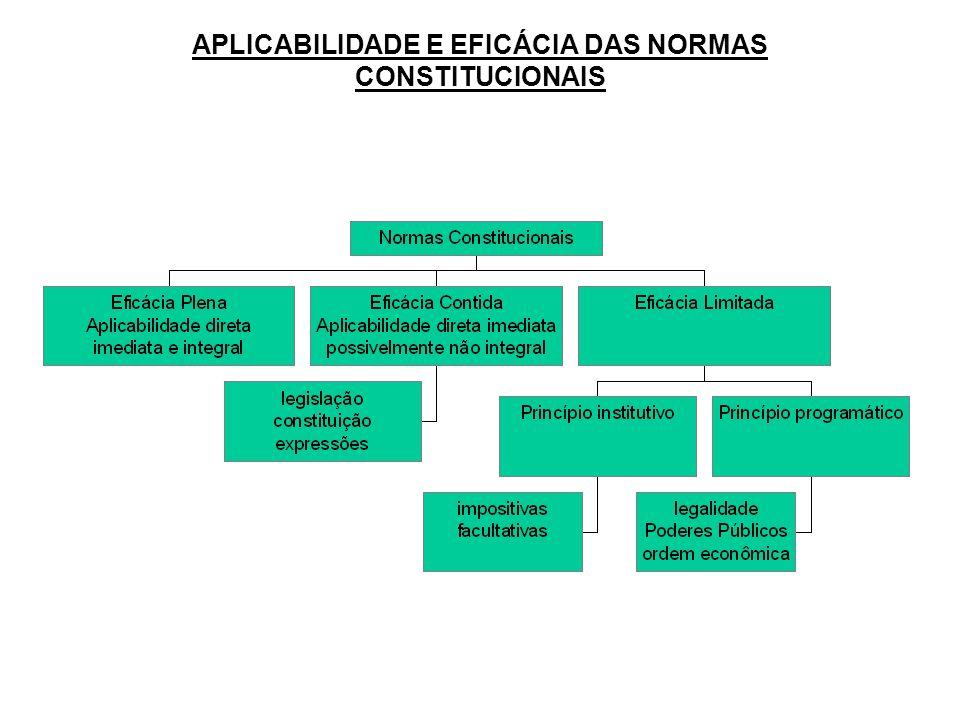APLICABILIDADE E EFICÁCIA DAS NORMAS CONSTITUCIONAIS