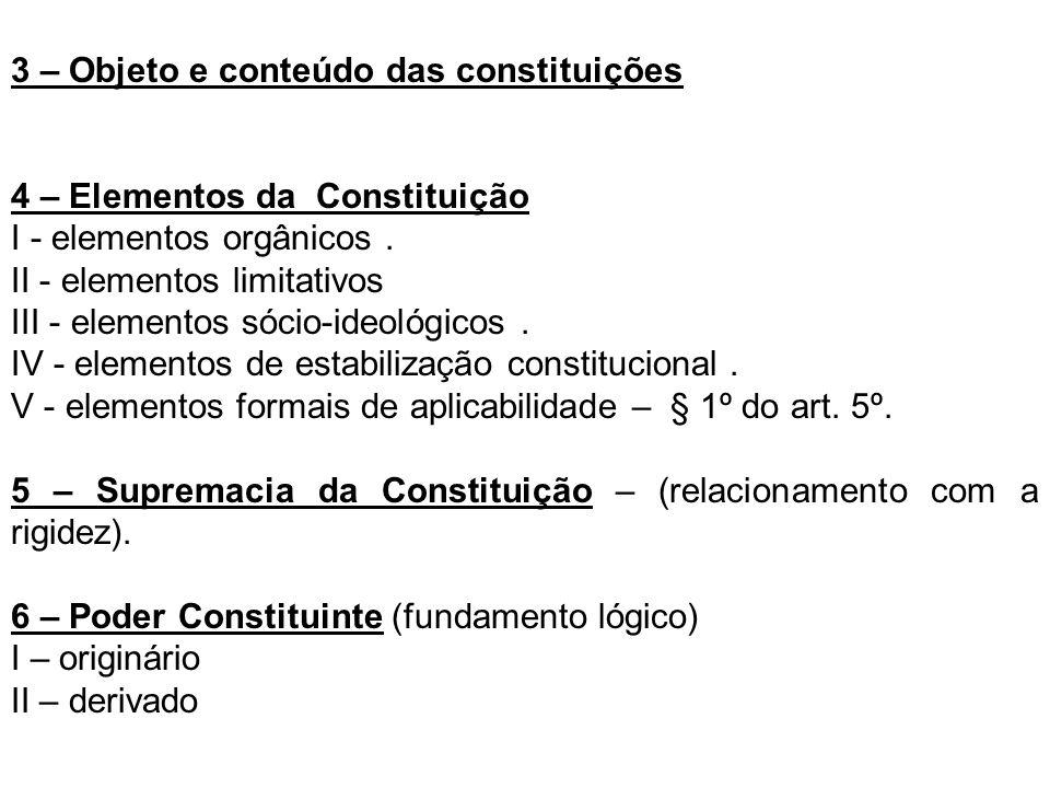 3 – Objeto e conteúdo das constituições