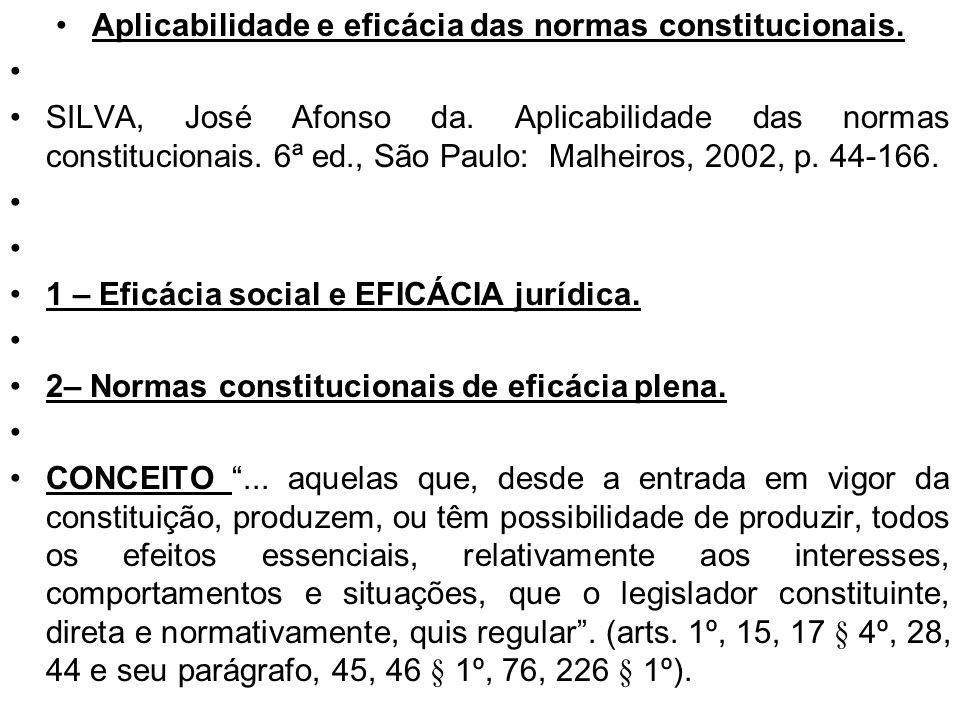 Aplicabilidade e eficácia das normas constitucionais.