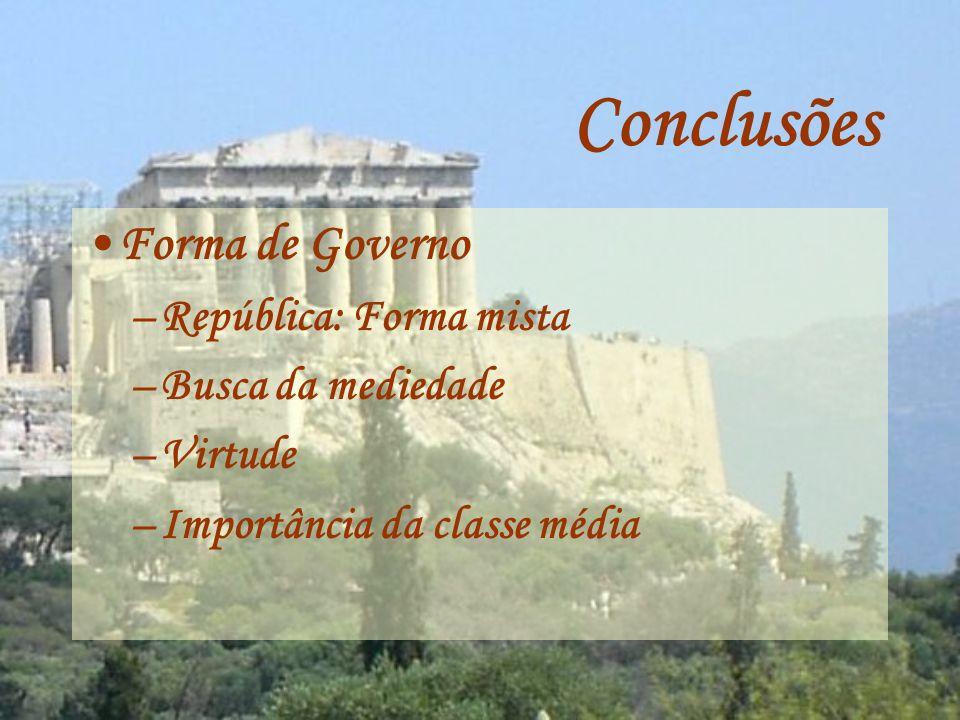 Conclusões Forma de Governo República: Forma mista Busca da mediedade