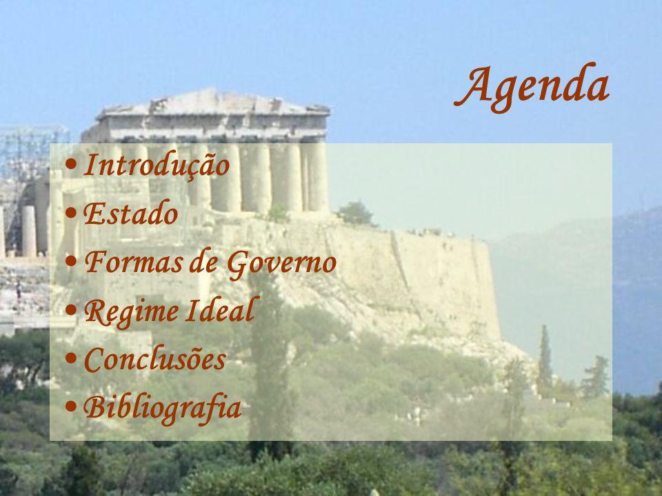 Agenda Introdução Estado Formas de Governo Regime Ideal Conclusões