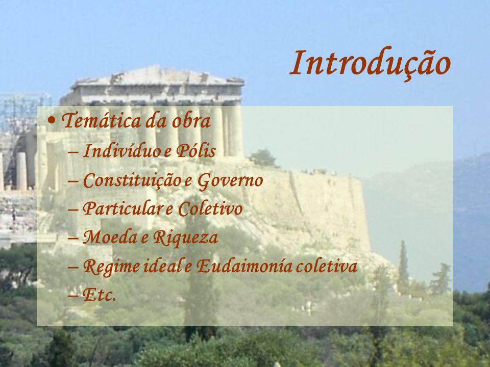 Introdução Temática da obra Indivíduo e Pólis Constituição e Governo