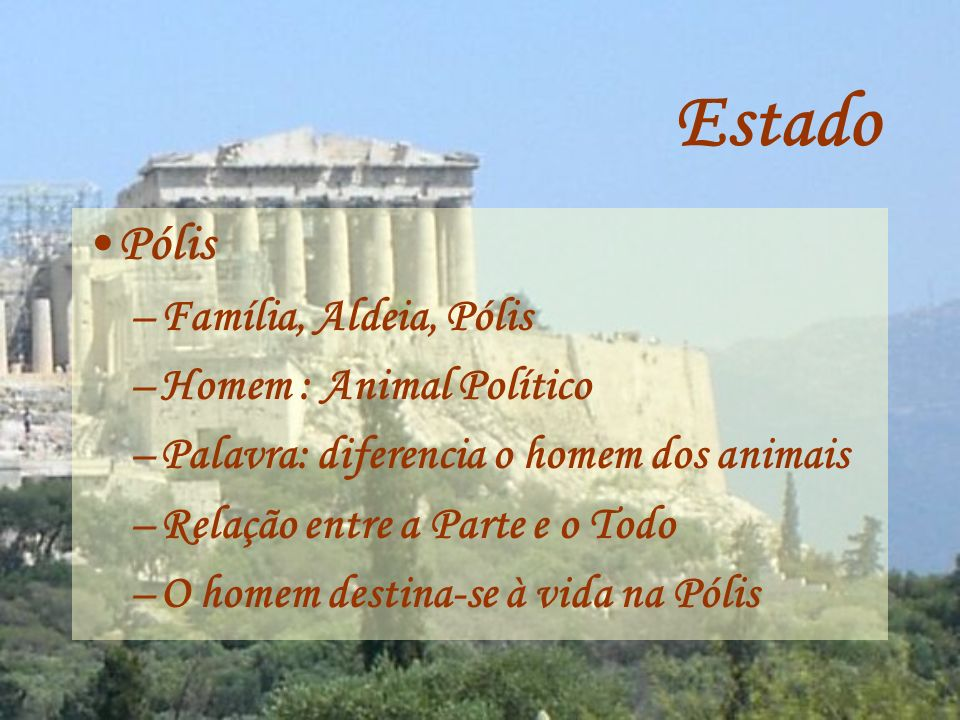 Estado Pólis Família, Aldeia, Pólis Homem : Animal Político