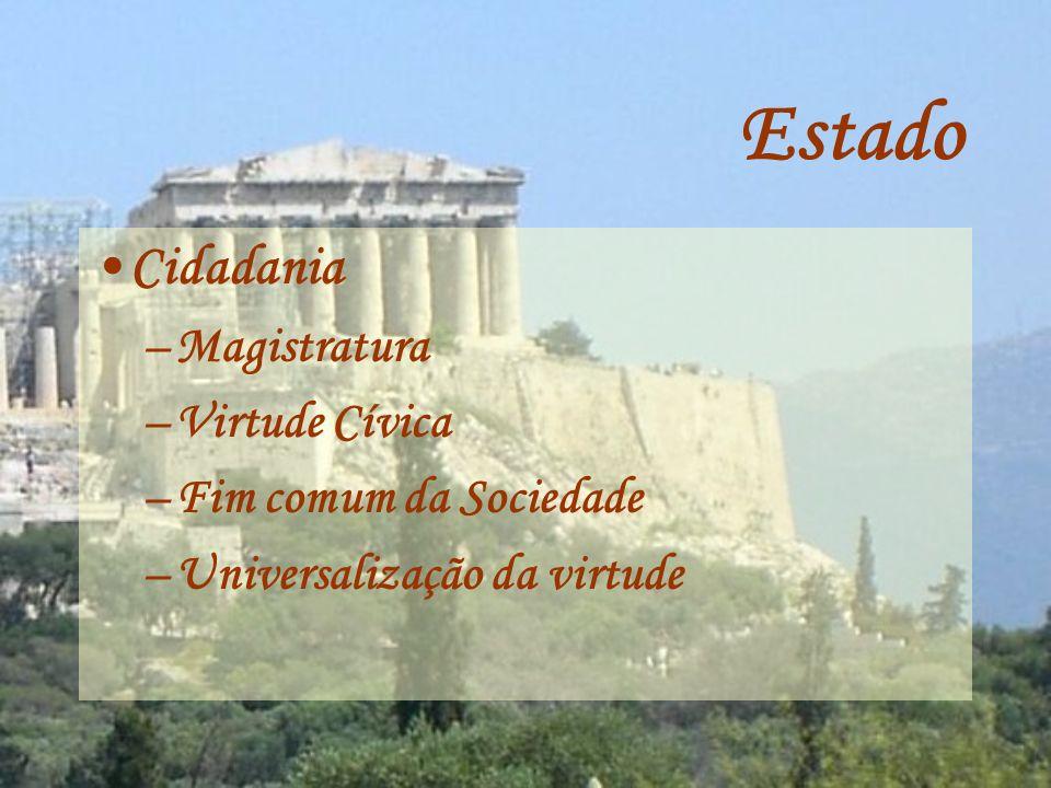 Estado Cidadania Magistratura Virtude Cívica Fim comum da Sociedade