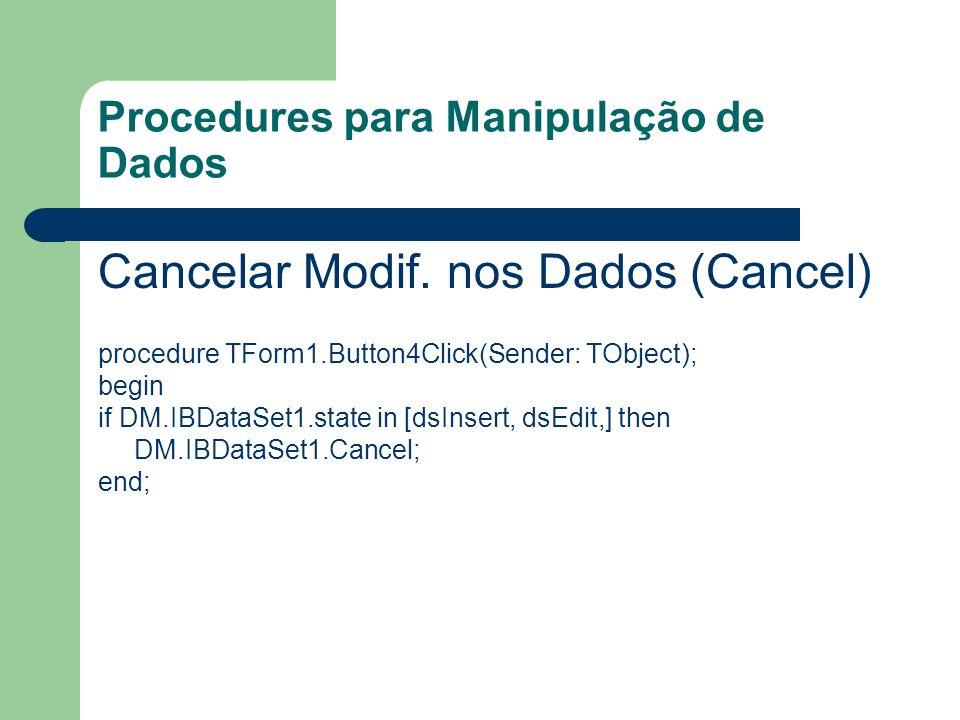 Procedures para Manipulação de Dados