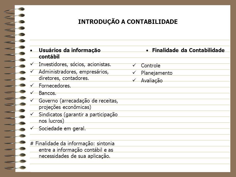 INTRODUÇÃO A CONTABILIDADE