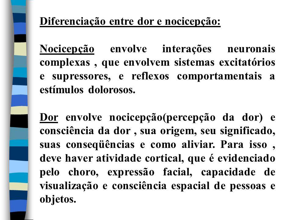 Diferenciação entre dor e nocicepção: