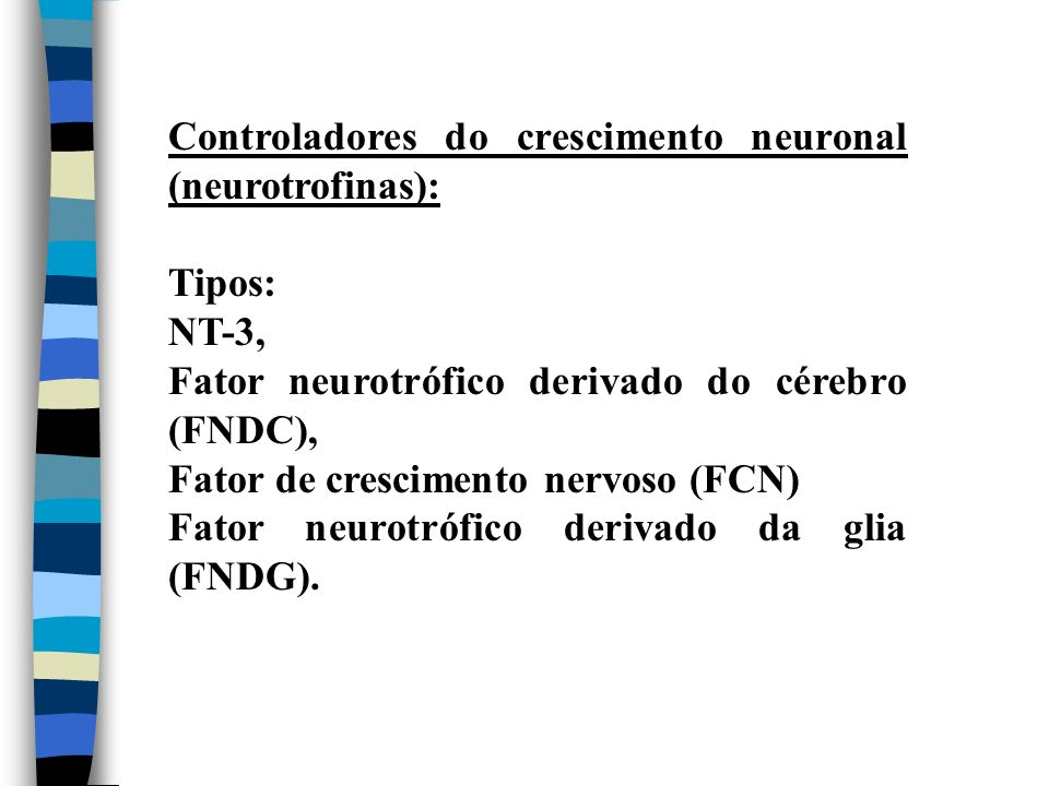 Controladores do crescimento neuronal (neurotrofinas):
