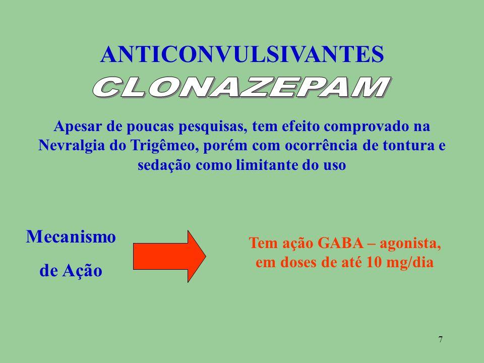 Tem ação GABA – agonista, em doses de até 10 mg/dia