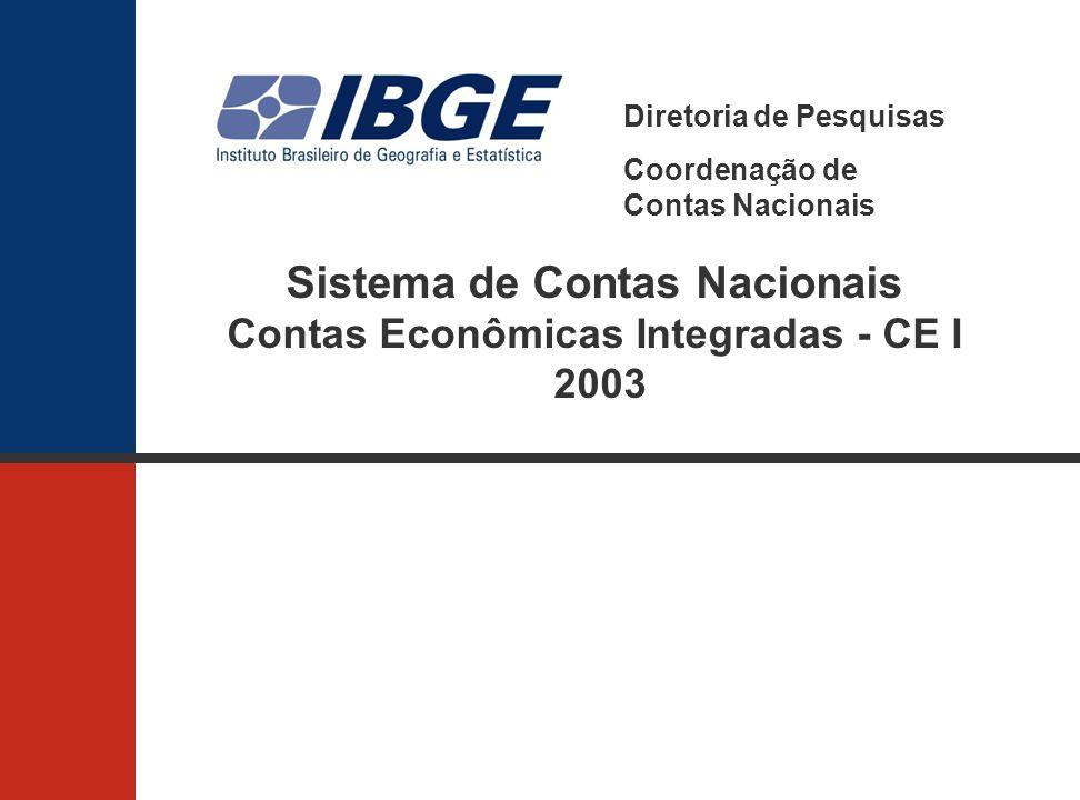 Sistema de Contas Nacionais Contas Econômicas Integradas - CE I