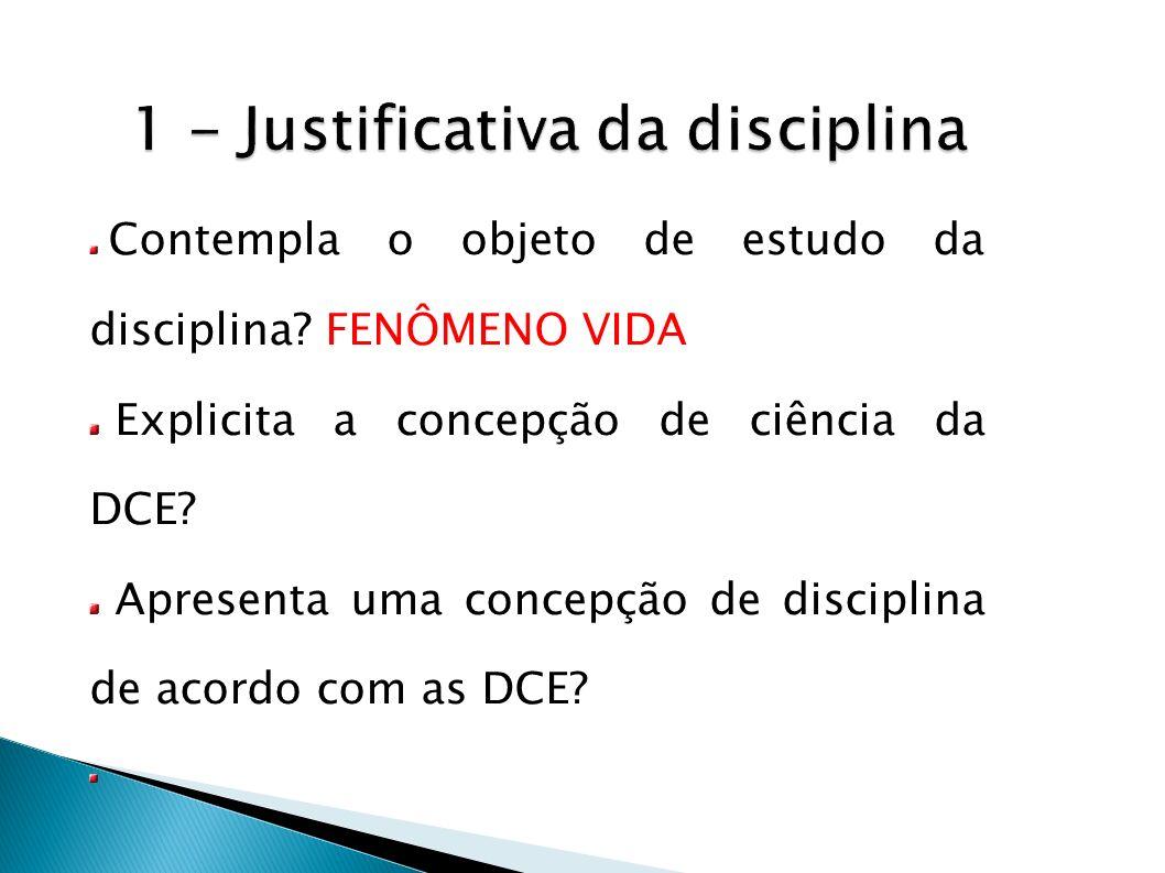 1 - Justificativa da disciplina