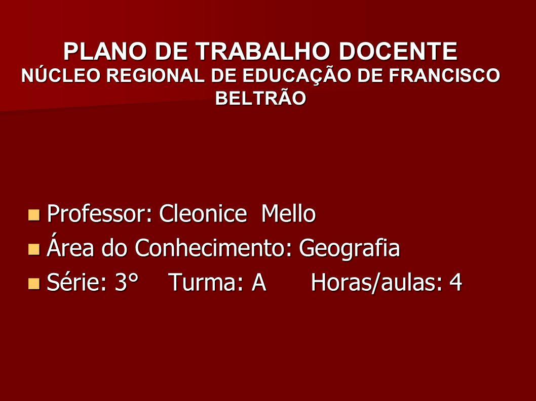 PLANO DE TRABALHO DOCENTE NÚCLEO REGIONAL DE EDUCAÇÃO DE FRANCISCO BELTRÃO