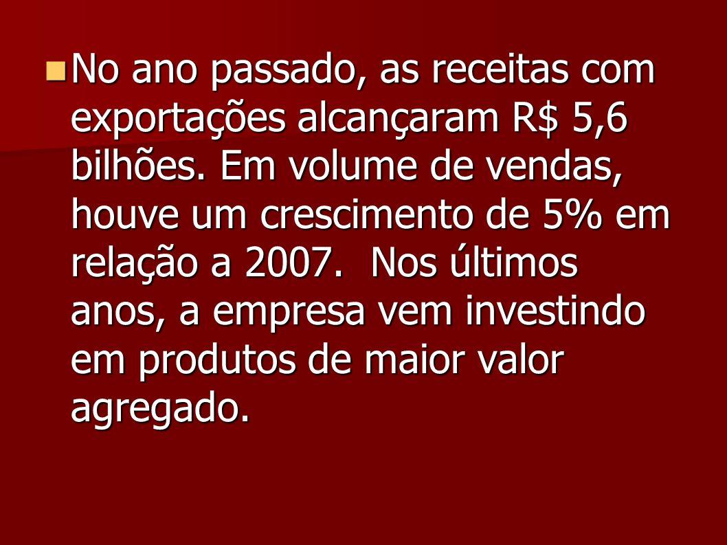 No ano passado, as receitas com exportações alcançaram R$ 5,6 bilhões