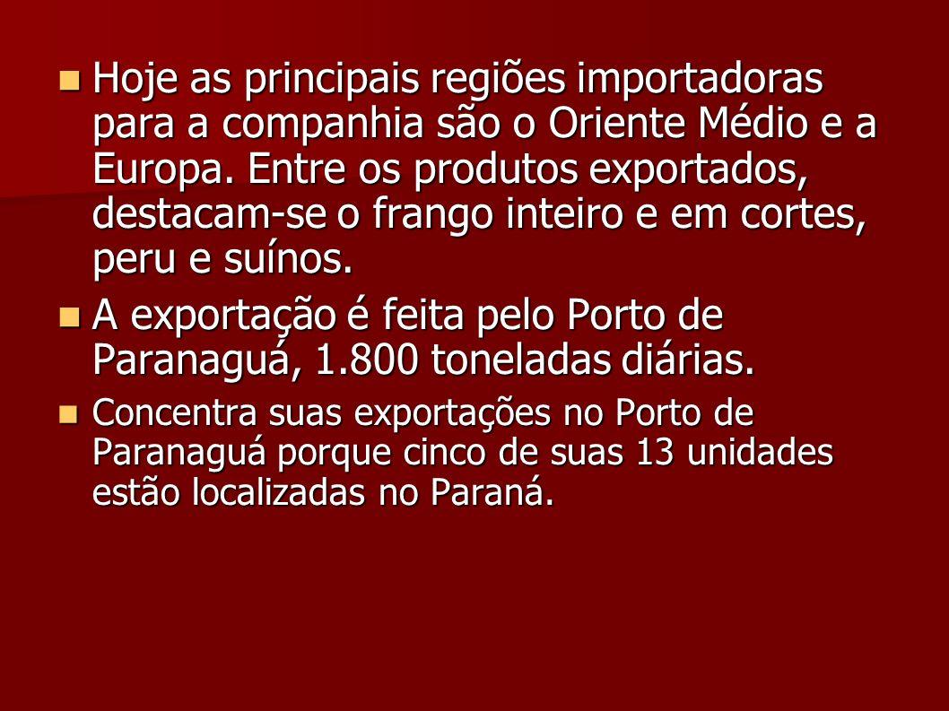 A exportação é feita pelo Porto de Paranaguá, 1.800 toneladas diárias.